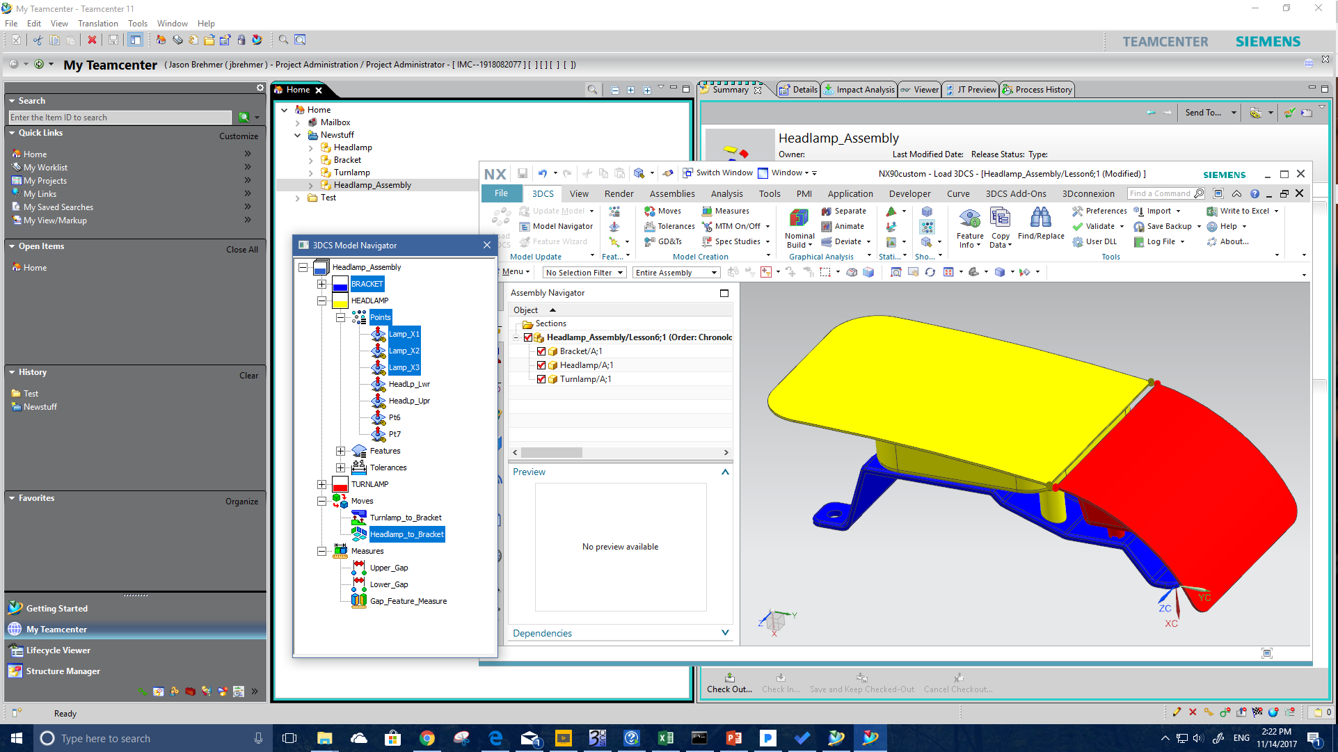Headlamp in NX and Teamcenter