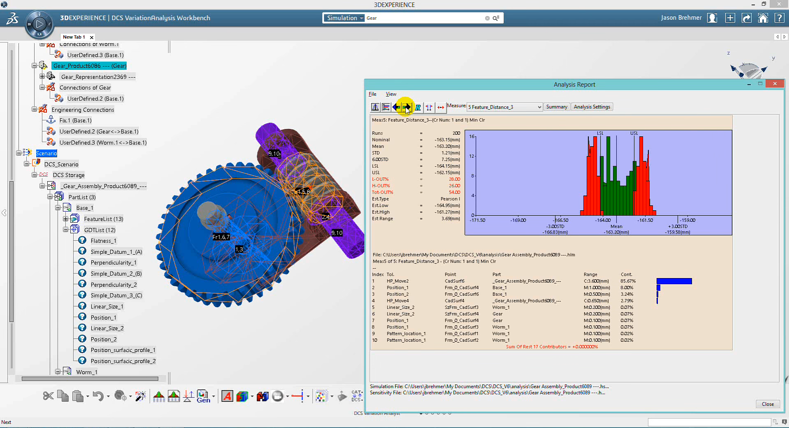 3DEXPERIENCE integrated tolerance analysis