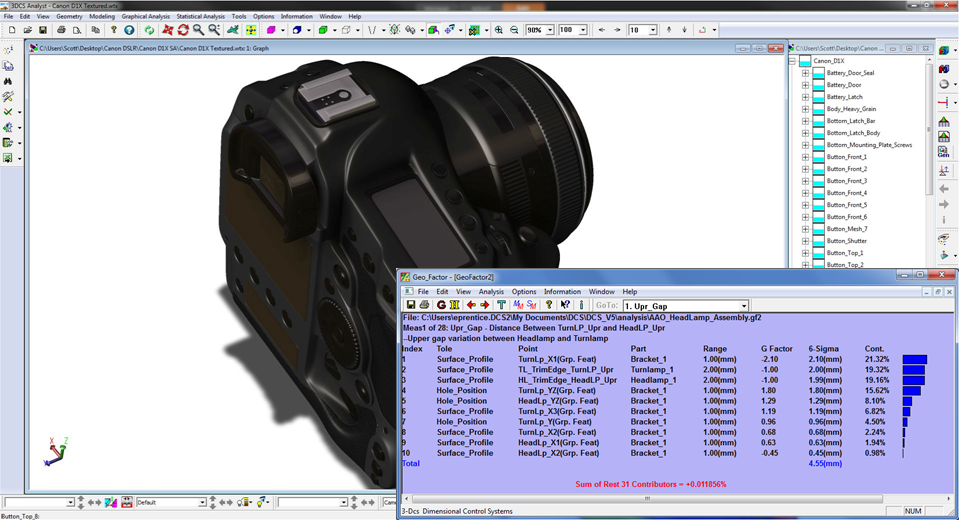 3DCS Geofactor Analysis