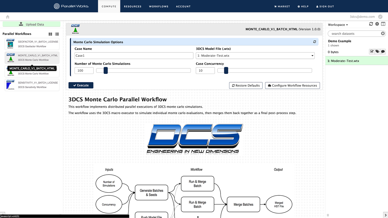 Web Interface for Distributed Computing Powered by Parallel Works